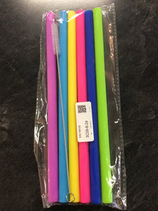 Silicone straight straw set