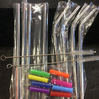 S/S reusable straw set with pouch