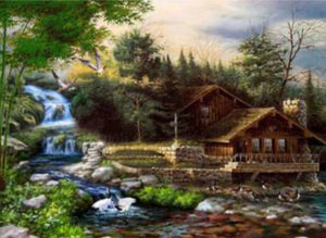 40 x 60 full square drill diamond painting TLS-6923 - cabin on the lake
