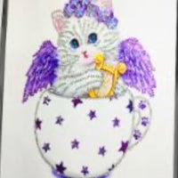 30 x 30 diamond painting rhinestone - kitten DZ012