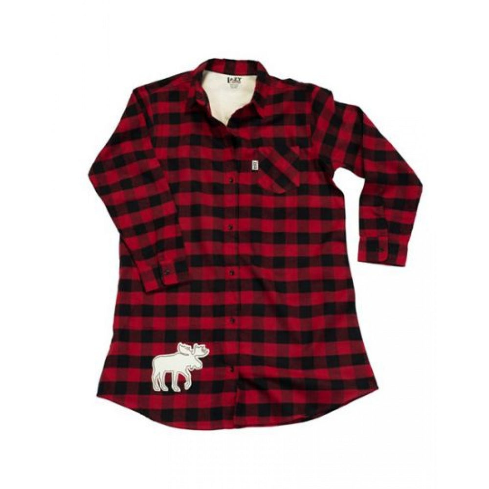 Lazy one - red flannel moose night shirt