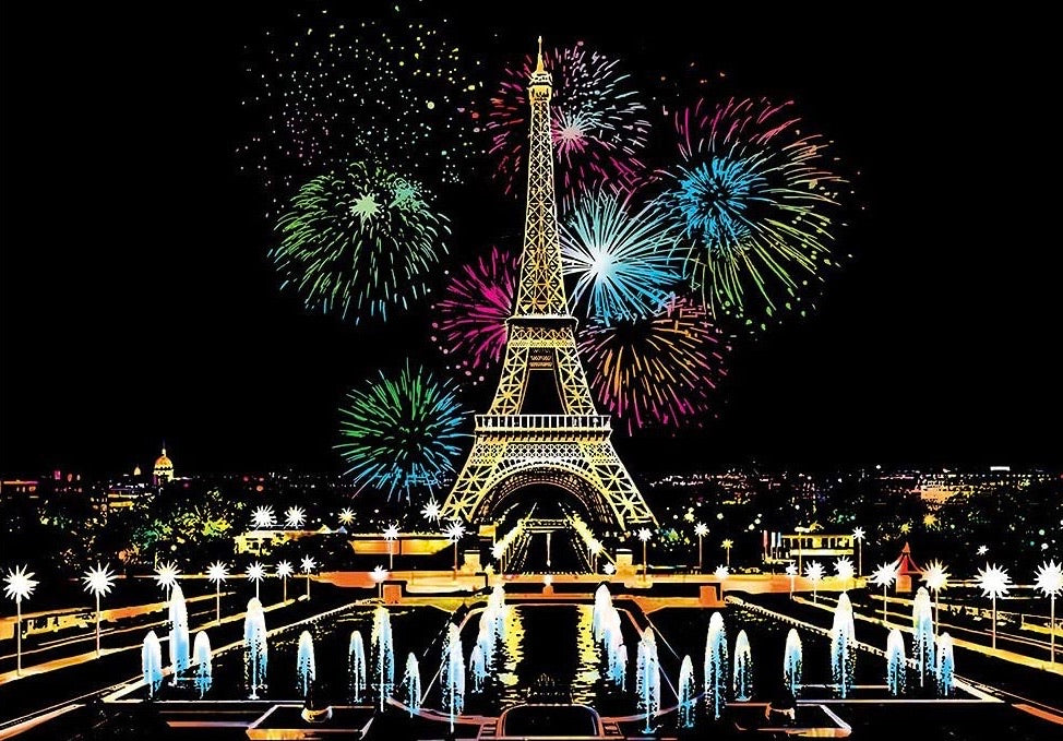 Scratch Paintings - Paris Fireworks