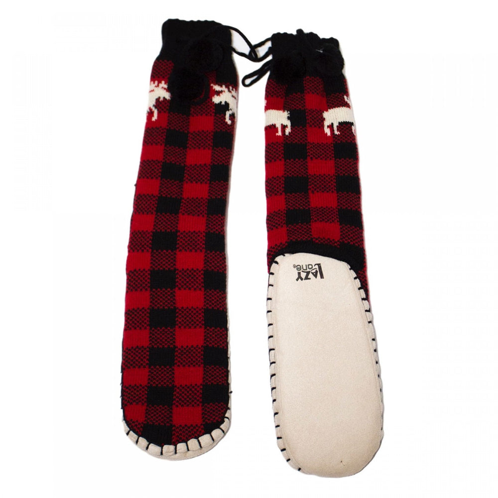 Lazy one mukluk red plaid moose