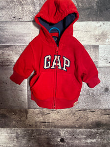 Red GAP zip up hoodie size 3/6 months gently used