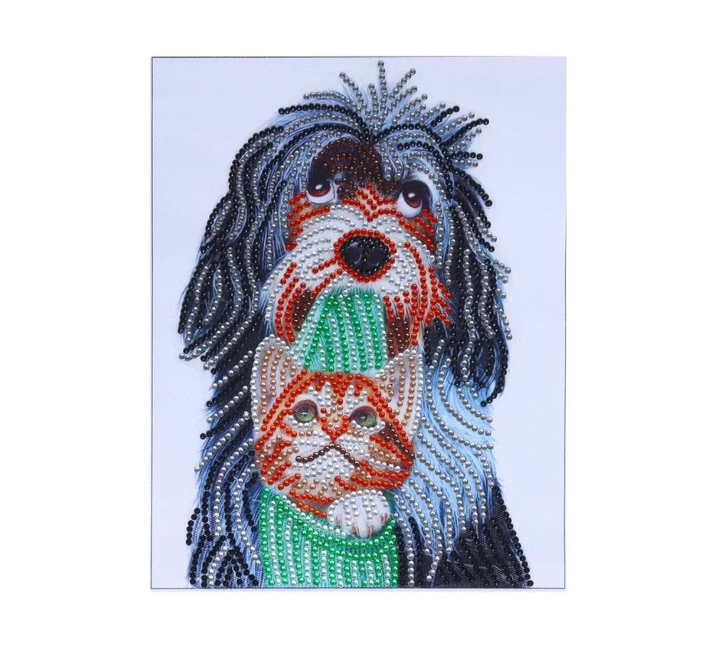 25 x 30 diamond painting (rhinestone) - doggie with kitten HO55