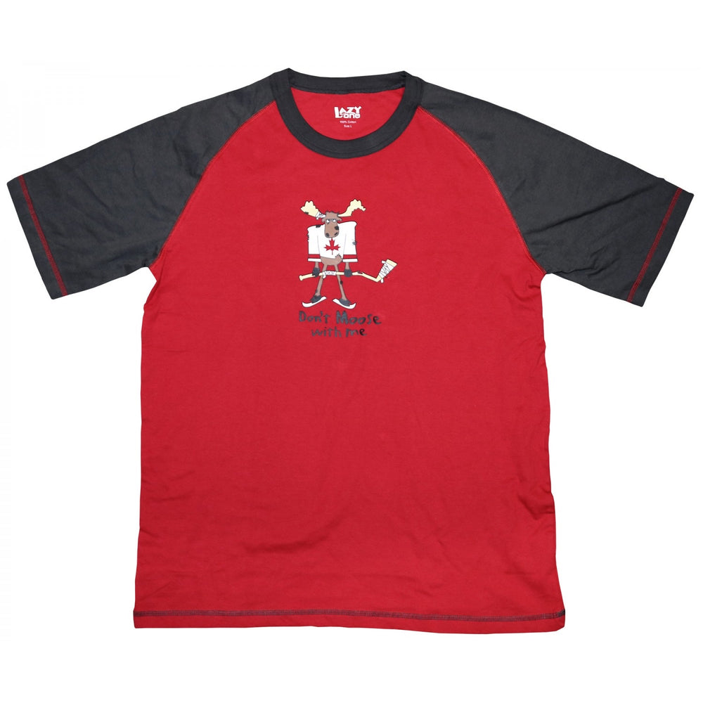 Lazy one - moose hockey adult s/s unisex pj top