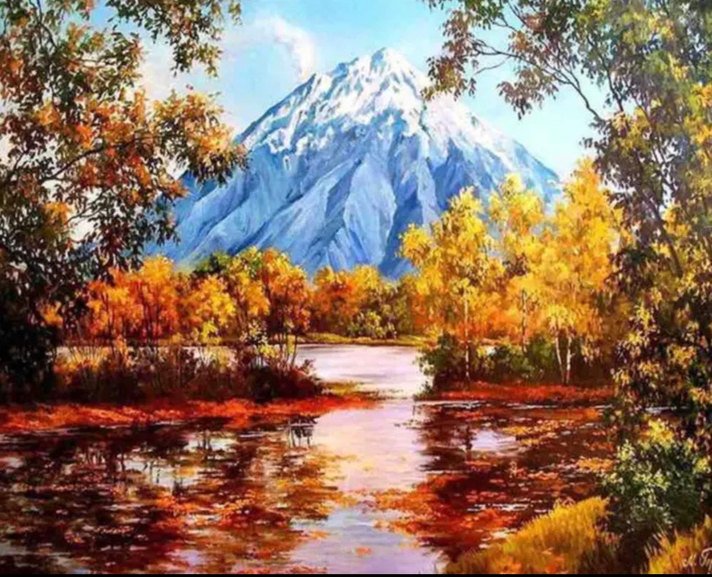 30 x 40 full drill diamond painting - (Hy832) mountain scene