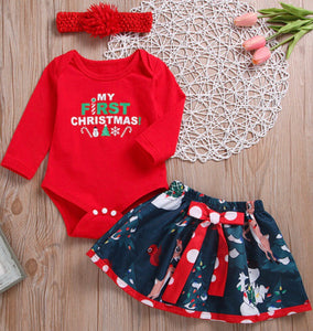 First Christmas Printed Skirt & Headband
