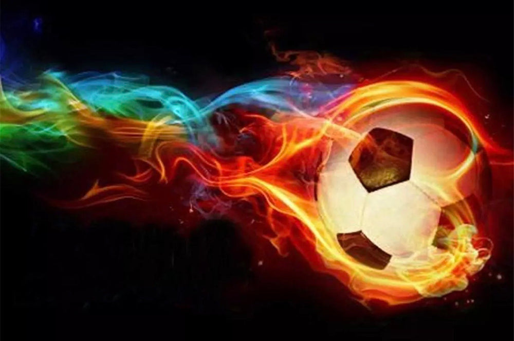 30 x 40 full drill diamond painting ( L016) flaming soccer ball