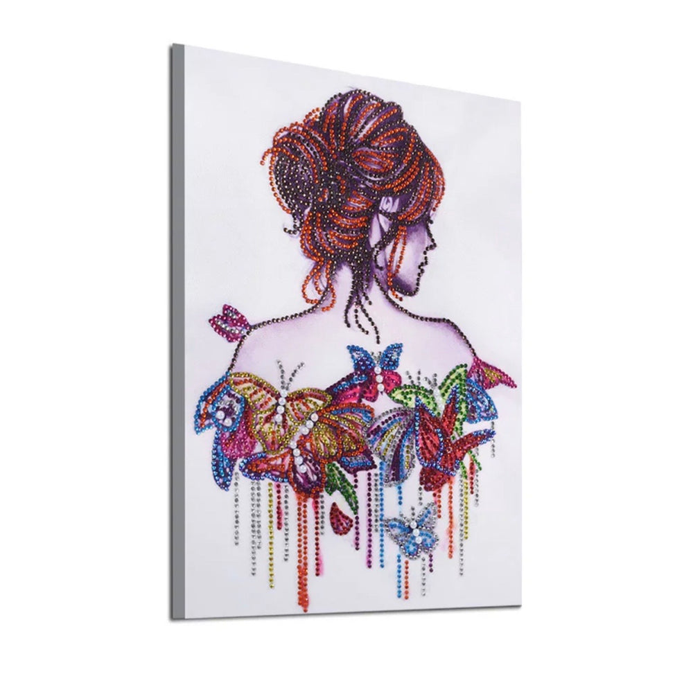 30 x 40 diamond painting (rhinestone) - butterfly lady DZ102