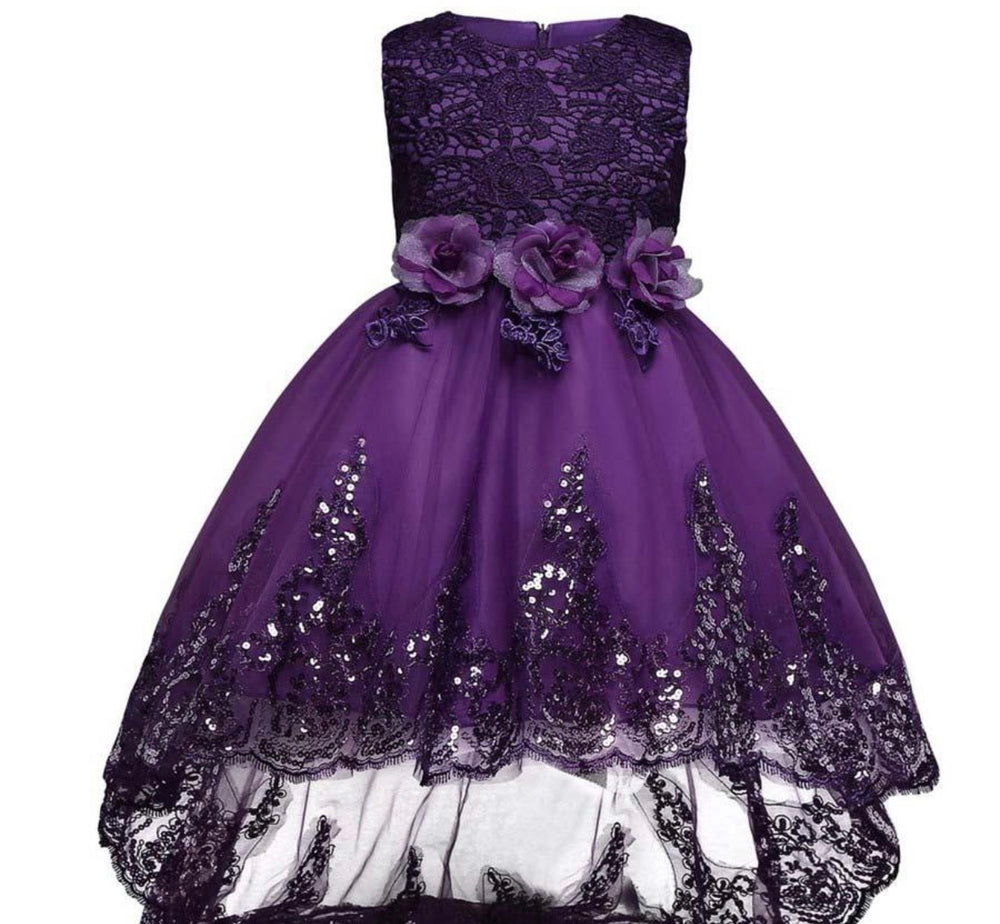 purple high low lace dress