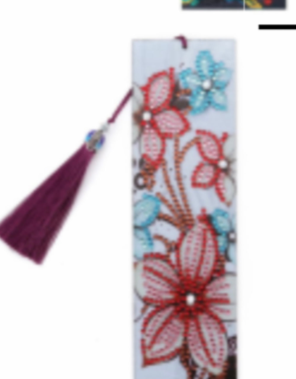 Diamond Painting Bookmark pink and blue flowers