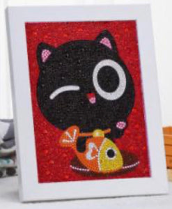 15 x 20 diamond painting rhinestone - cat with fish AT029