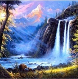 30 x 40 full drill diamond painting - (Hy226) waterfall