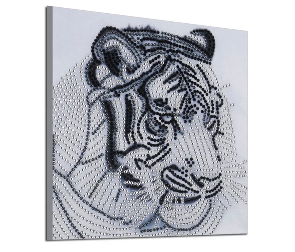25 x 25 diamond painting (rhinestone) - white tiger H029