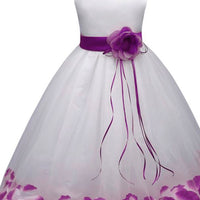 White party dress coloured petals
