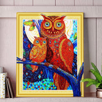 30 x 40 diamond painting (rhinestone) owl on a branch - DZ007
