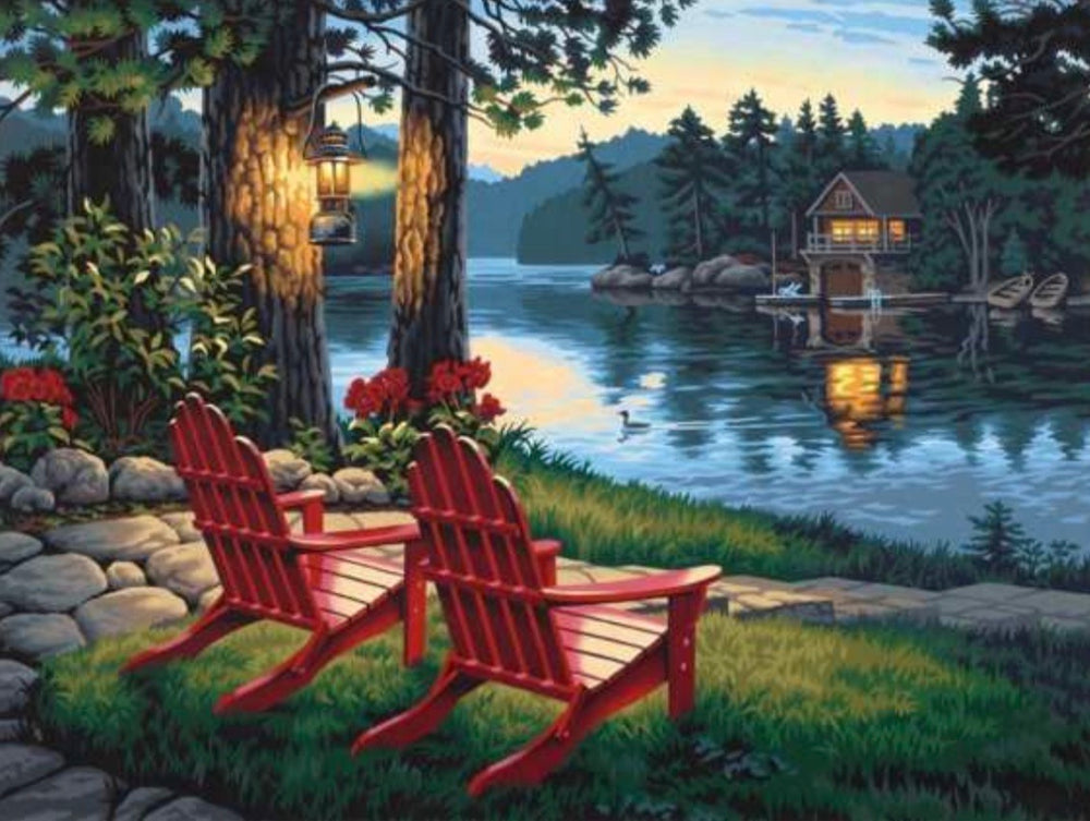 32 x 42 full square drill diamond painting BESTS-019 cabin on the lake