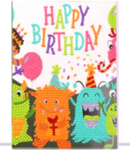 diamond painting greeting cards - baby monsters