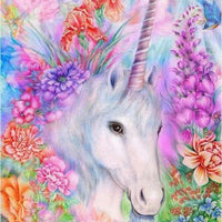 30 x 40 full drill diamond painting - (Hy5814) unicorn flowers