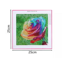 25 x 25 diamond painting (rhinestone) - rainbow rose DZ145