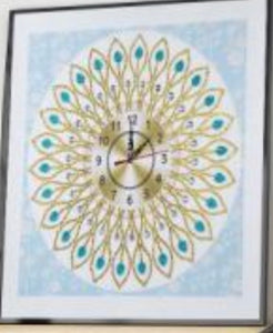 35 x 35 diamond painting clock rhinestone - blue and cream DZ068