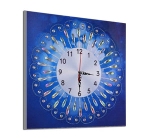 35 x 35 diamond painting clock (rhinestone) - blue DZ083