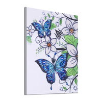 30 x 40 diamond painting (rhinestone) - blue butterfly with white flowers YX8058