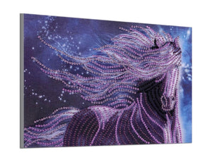 25 x 30 diamond painting (rhinestone) - purple horse H016