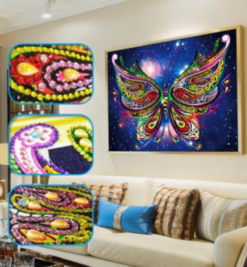 30 x 40 rhinestone drill diamond painting - colorful butterfly - DZ022
