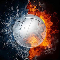 40 x 40 full square drill diamond painting - flaming volleyball
