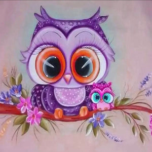 30 x 30 full drill diamond painting -  (HY801) owl with baby