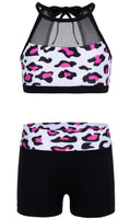 girl 2 pce pink/black gymnastic