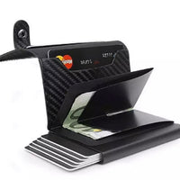 RFID blocking fold up pop up card holder with leather wallet - black