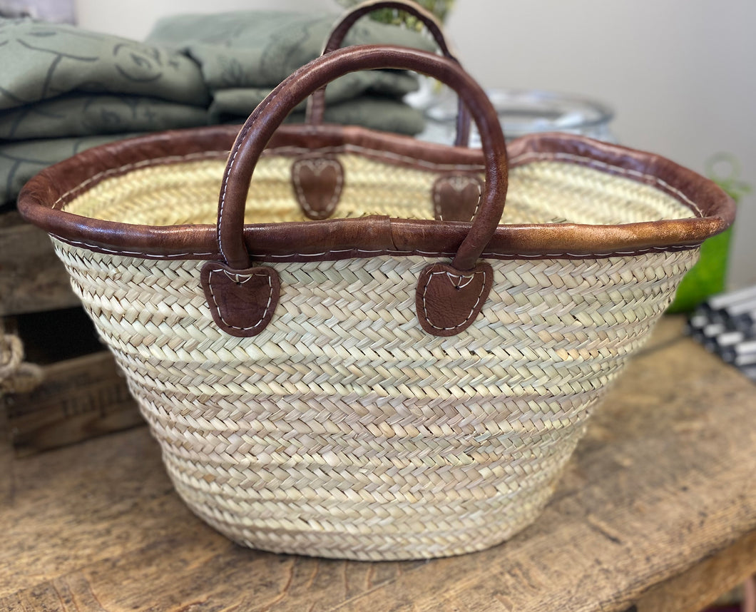 Dark Brown Round Handle with Leather Rim Basket