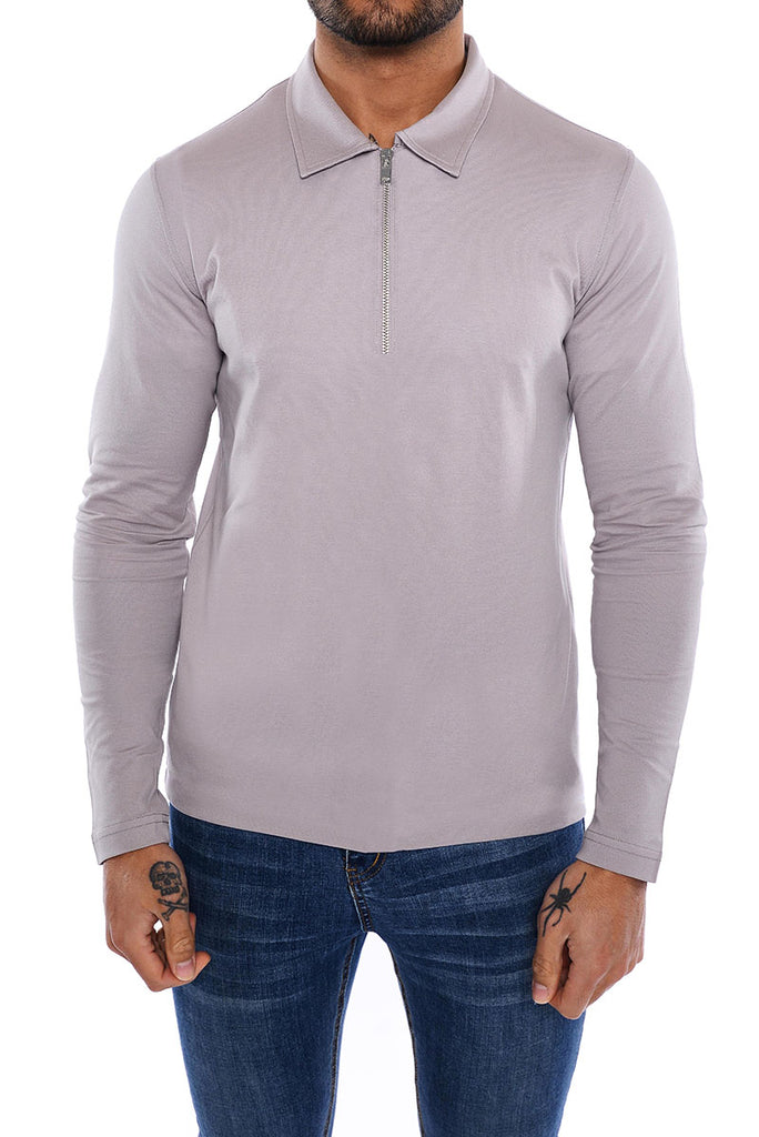 Knitted Long Sleeve Polo - Stone