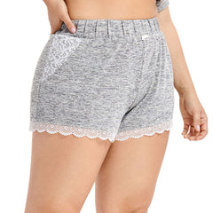 Women's Lace Trim Sleep Elastic Waist Shorts