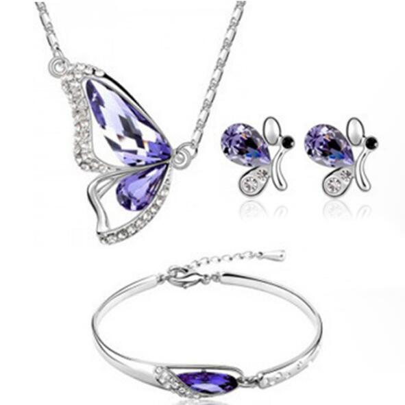 Butterfly Jewelry Sets Necklace Earring Bracelet