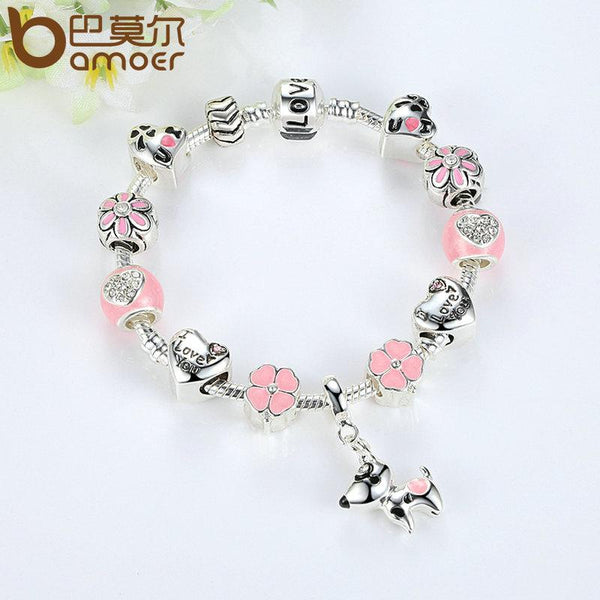 Lovely Pink Dog Heart Flower Charms Bracelets