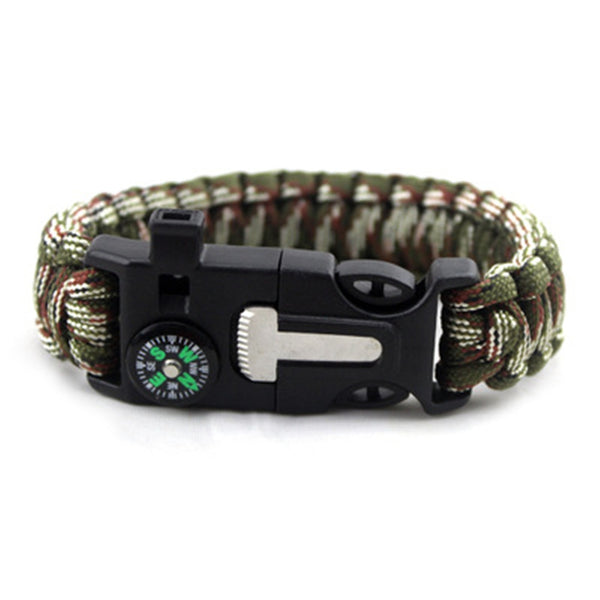 Outdoor Survival Hand Rope Clasp Bracelet with Compass