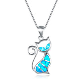 Cat Necklace Blue Fire Opal Pendant