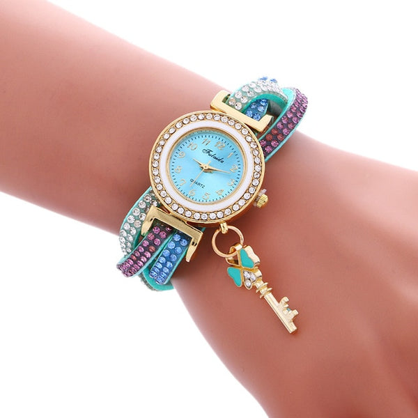 Women Padlock Diamond Bracelet Wrist Watch