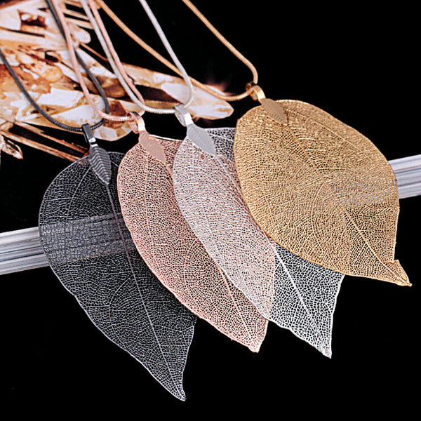 Long Delicate Leaf Necklace