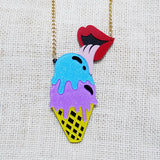 Trendy Ice Cream with lips Necklace