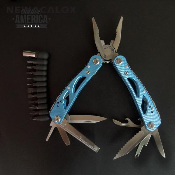 NEWACALOX Outdoor Multitool Pliers Repair Pocket Knife Fold Screwdriver set Hand Multi Tool Mini Folding Pocket Portable Fishing
