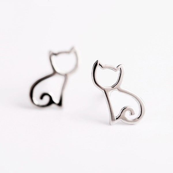 Cute Tiny Symmetry Cat Stud Earrings