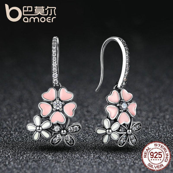 Silver Poetic Daisy Cherry Blossom Earrings