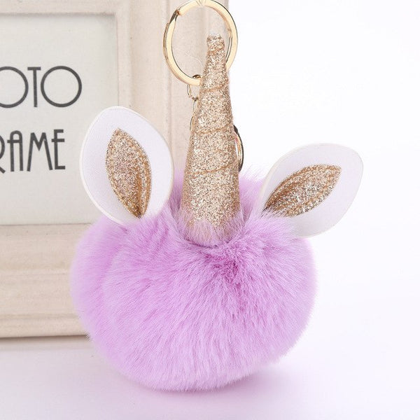 Unicorn Pom Pom Key Chain