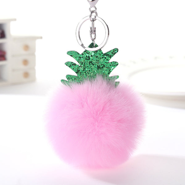 Fluffy Faux Fur Ball Pompom Keychain