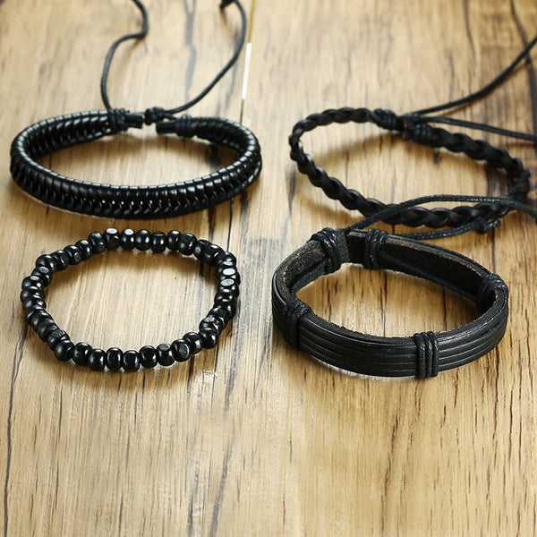 4pcs Black Leather Bracelets